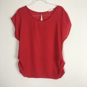 Poetry | Red Key hole Cut Out Back Blouse